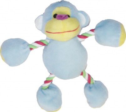 Plush Monkey with Rope BABY BLUE
